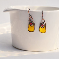 Dangle resin earring. Resin Jewelry. Dark Copper Wire Jewelry. bright yellow red handmade. Summer. Gifts for her. unique earring nickel free