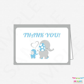 Blue Elephant Thank You Cards, Baby Shower Thank You Cards, Boy Baby Shower, Printable Thank Yous, Thank You Cards, Instant Download ELLLBG