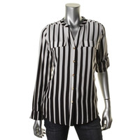 Calvin Klein Womens Striped Adjustable Sleeves Button-Down Top