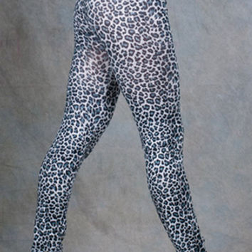 Black and Gray Leopard Print Leggings Design 252