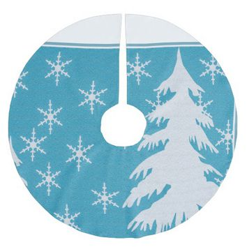White Tree & Snowflakes on Blue Tree Skirt