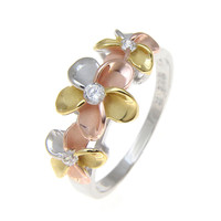 STERLING SILVER 925 HAWAIIAN TRICOLOR RHODIUM 3 PLUMERIA FLOWER RING CZ