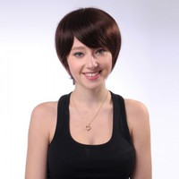 Simple Capless Dark Brown Real Human Hair Short Wigs for Women