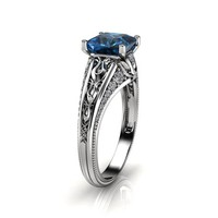 Special Reserved - 2 ct. princess cut London Blue Topaz engagement ring