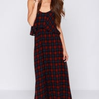 Tartan the Mood Red and Navy Blue Plaid Maxi Dress