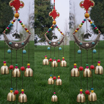 Cheap Vintage Home Decor Lucky Elephant Wind Chimes Copper 6 Bells Outdoor Living Yard Garden Decor Windchimes