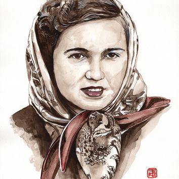 MOTHER WATERCOLOR traditional PORTRAIT - Grandma painting from photo