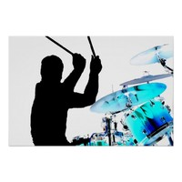 Drummer sticks in air shadow blue invert drums