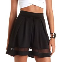 Mesh Cut-Out Pleated Skater Skirt by Charlotte Russe - Black
