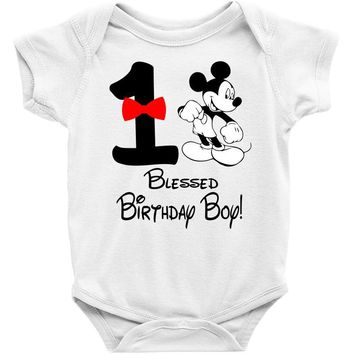 1 blessed birthday boy Baby Onesuit