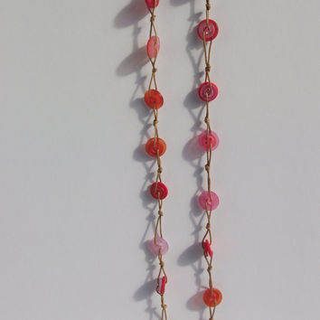 Button Necklace - red orange and pink - warm colours - unusual necklace
