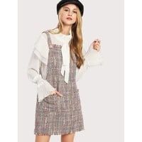 Fringed And Tweed Overall Dress - Multi