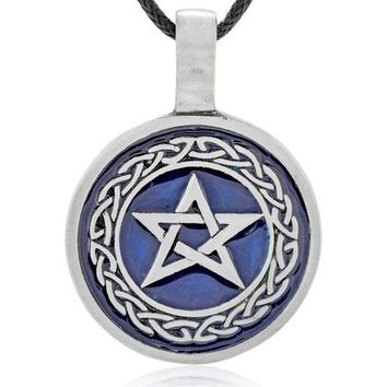 DCCKV2S Dan's Jewelers Blue Star Pentagram Necklace Pendant with Celtic Knot Design, Fine Pewter Jewelry