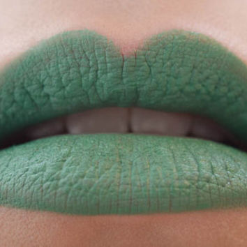 The Other Side : a bold, semi-matte, vegan, opaque bright grass green lipstick