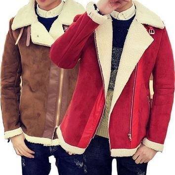 Fall Shearling Winter Coat Faux Fur Suede Jacket Sid Zip Lamb Wool Mens Sheepskin Coat