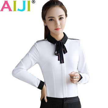 Plue size long sleeve blouse women OL elegant solid bow tie turn-down collar Formal chiffon shirts ladies office work wear tops