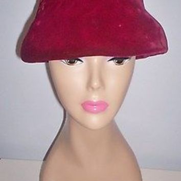 Elegant Vintage Women's Ruby Red Velour Dress Hat Abbye' Size 22 Take a L@@K!