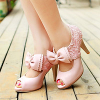 Lace bow high heels 8461XM