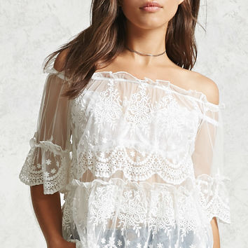 Sheer Off-the-Shoulder Blouse