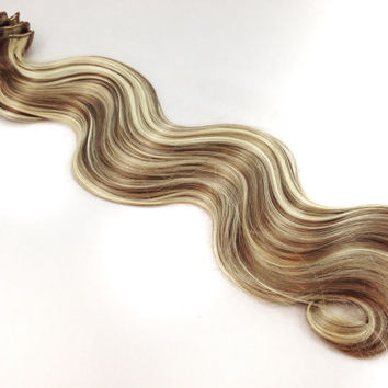 """Ready to Ship - 22"""" Inch Highlighted Medium Brown Blonde Mix Clip In Hair Extensions"""