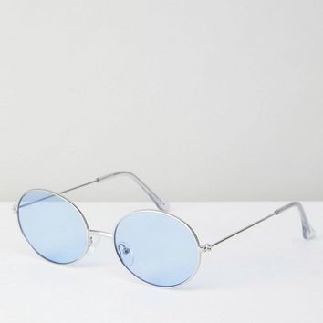 ASOS 90S Oval Metal Fashion Sunglasses With Blue Coloured Lens at asos.com