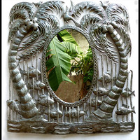 "Metal Mirror Wall Hanging - Coconut Tree Design - Haitian Steel Drum Metal Art - 33"" x 34"""