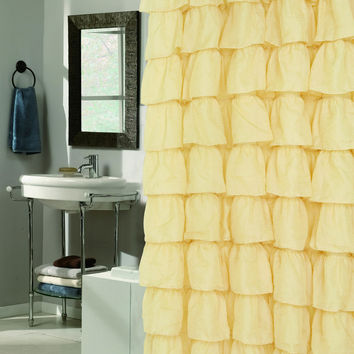 """The Conquistador Collection Flamenco Tiered Crushed Voile Fabric Shower Curtain (70"""" x 72"""") - Gold"""