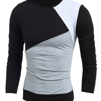 Classic Multicolor Splicing Slimming Round Neck Long Sleeves Men's Vogue T-Shirt