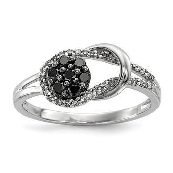 Sterling Silver Black and White Diamond Love Knot Ring