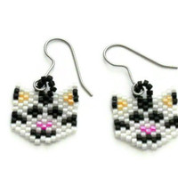 Beaded Cat Earrings Made With Delica Beads