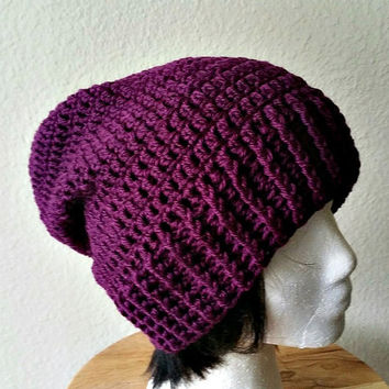 Purple Slouch - Crochet Slouchy Beanie - Womens Slouchy Hat - Long Beanie - Oversized Beanie - Hipster Hat - Winter