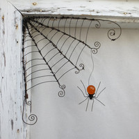 "18""  Barbed Wire Corner Spider Web With Orange Spider"