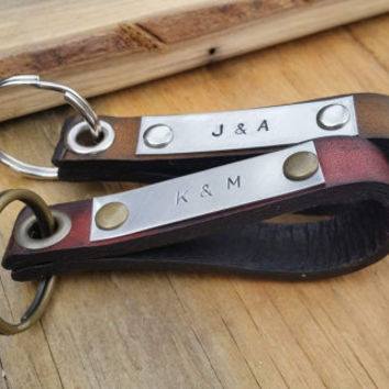 Stainless Steel Leather Keychain