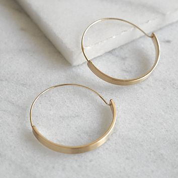 Flat Hoop Earrings - Gold Tone