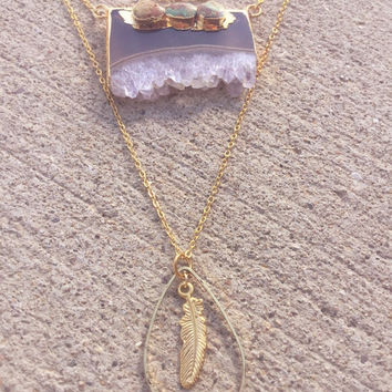 Druzy amethyst multilayer necklace,Turqouise gold necklace,statement necklace,feather,multilayer,layered boho necklace,gemstone jewelry