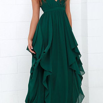 V-Neck Sleeveless Ruffled Chiffon Dress