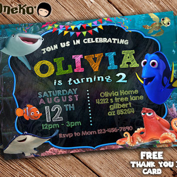 SALE Finding Dory Birthday Invitation Card & Free Thank You Card / Printable / for Girls and Boys / Kids / Celebration / Party Favors