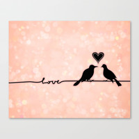 Birds on a wire Love bokeh with heart pink and black lovebirds Stretched Canvas by Jaclyn Rose Design