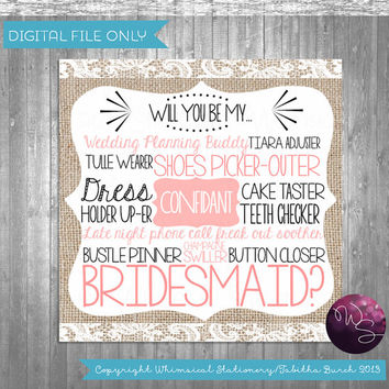 "Bridesmaid Proposal Cards - ""Burlap and Lace"" (Printable File Only); Burlap & Lace; Ask Bridesmaid; Be My Bridesmaid Be In My Wedding"