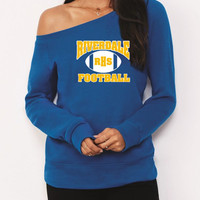 Riverdale High School Football Hooded Junior Wideneck Sweatshirt