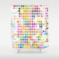 Houndstooth multi color watercolor Shower Curtain by CAPow!