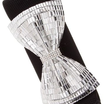 Women Pave Crystal Beads Bow Accent Stretch Belt Elastic Band Stretchable