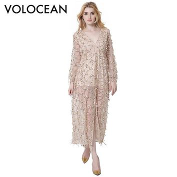Volocean Famous Brand 2017 New Fashion Maxi Dresses Women Mesh Yarn Tassel Sequins Dress For Women Sexy Ladies Dress Female