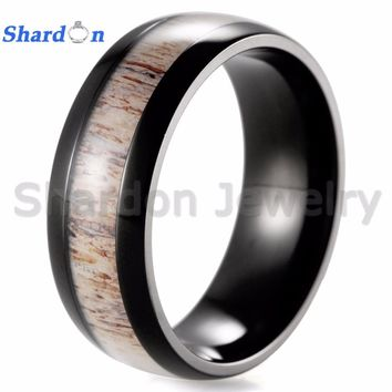SHARDON  IP black Plating Titanium ring real antler inlay wedding rings for women and men Anniversary Gift Finger Ring Jewelry