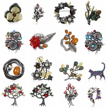 Rinhoo Natural Stone Crystal Flower Leaf Cat Brooches Pins Vintage Collar Wedding Accessories Jewelry women brooch