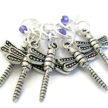 Charmed Stitch Marker Set | Beaded Stitchmarker | Knitting Stitch Marker | Knitting Gift | dragonfly charm with purple beads | #S008
