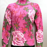 1980's Bright Pink Floral Sweater by Northern Isles - Wool Blend - Turtleneck Collar - Big Flowers Design - Women's Pullover