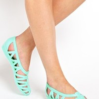 JuJu Vicky Mint Cut Out Flat Shoes at asos.com