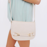 FAUX LEATHER CROSS BODY BAG- BEIGE