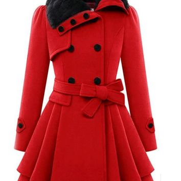 New Red Belt Cascading Ruffle Double Breasted Plus Size Fur Collar Slim Casual Fashion Wool Coats